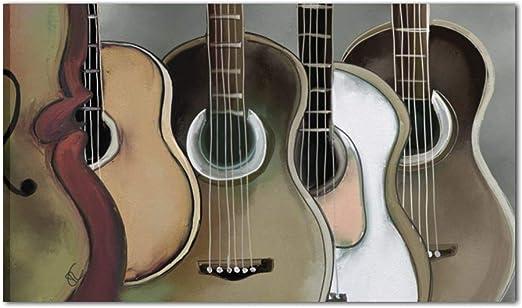 Cuadros Pintado A Mano Sobre Lienzo Musicales con Instrumentos ...