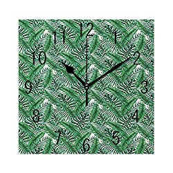 YABABY Square Wall Clock Battery Operated Quartz Analog Quiet Desk 8 Inch Clock, Watercolor Artwork of Palm Tree Leaves Fresh Jungle Rainforest Plants