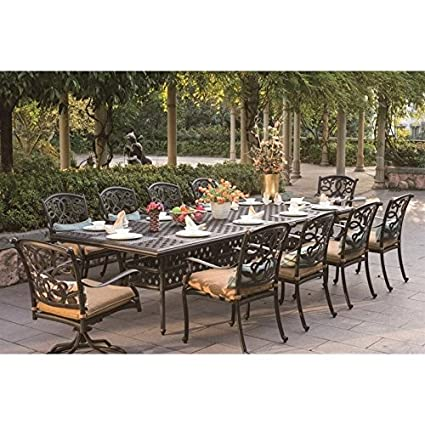 Amazon Com Darlee Santa Monica 11 Piece Patio Dining Set In