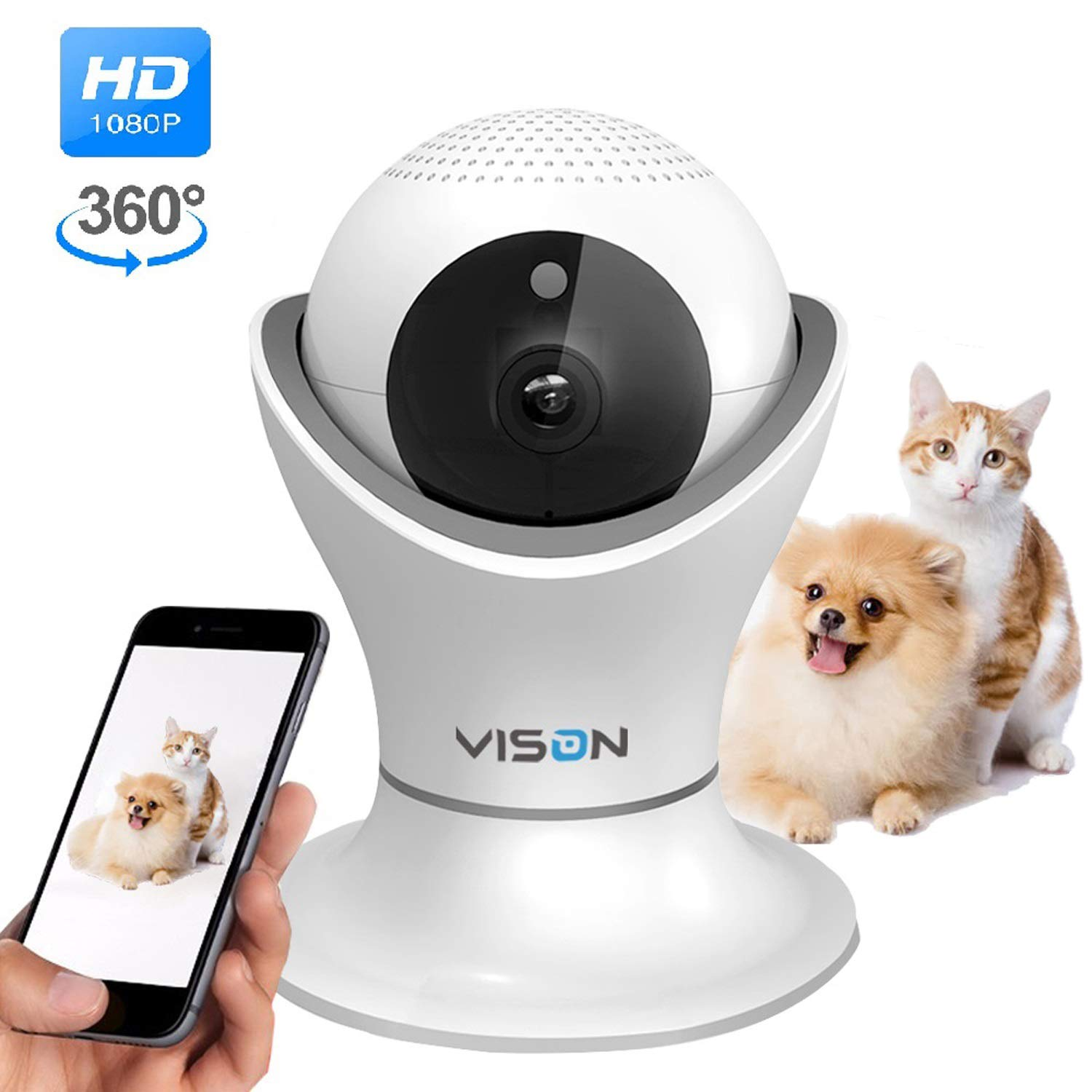 VINSION HD 1080p Pet Camera,Dog Camera 360° Pet Monitor Indoor Cat Camera with Night Vision and Two Way Audio by VINSION