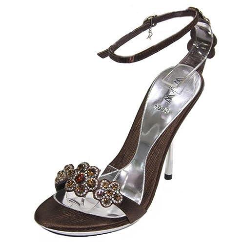 ec6c8351edbcc4 W W Women Ladies Evening Comfort Heel Diamante Sandals Party Shoes Size  (Silver