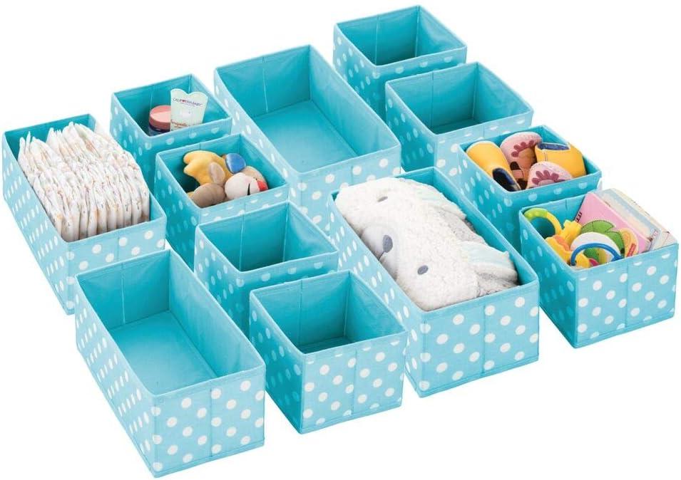 mDesign Juego de 12 cajas de almacenaje para habitación infantil, baño, etc. – Cestas organizadoras de lunares – 12 organizadores de armarios de fibra sintética en dos tamaños – turquesa/blanco