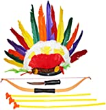 American Indian Dress Up Headdress Costume Accessories for Kids 6-Piece Bundle