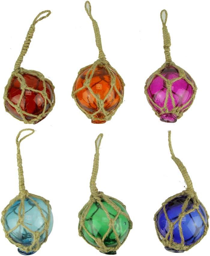 Chesapeake Bay Colorful Mini Glass Fishing Float Nautical Ornaments Set of 6