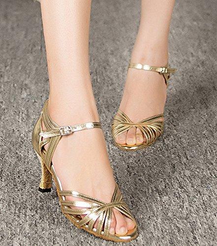 F&M Fashion ,  Damen Tanzschuhe , Gold - gold - Größe: 42