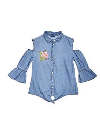 1244b72d30ace Amazon.com  GUESS Girls  Big Bleached Blue Denim Cold Shoulder Top with  Embroidery  Clothing