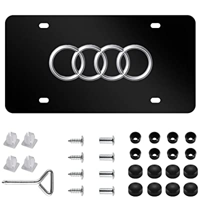 Audi Logo Stainless Steel Front License Plate,with Screw Caps Cover Set Suit, for Audi. (DIY): Automotive