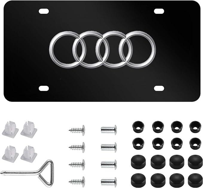 "1pc 3D /""4 Ring LOGO/"" Black Metal License Plate Frame Holder ##1"