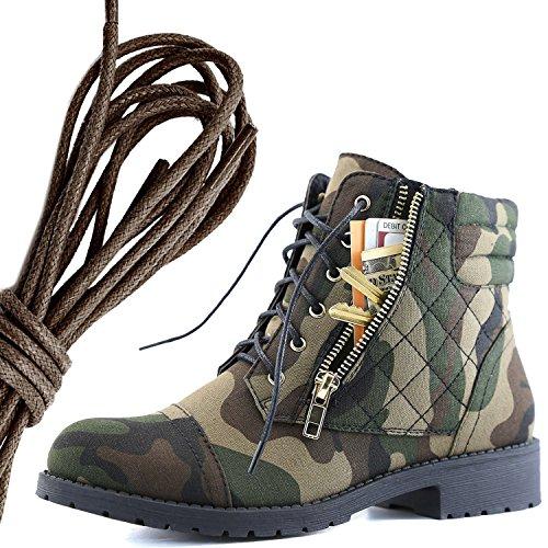 Dailyshoes Kvinna Militär Snörning Spänne Bekämpa Stövlar Fotled Hög Exklusiva Kreditkortsficka, Mörkbrun Kamouflage Cv