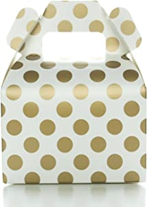 Food with Fashion Party Favor Candy Boxes, Gold Polka Dot (12 Pack) - Candy Buffet Treat Boxes, Wedding Dessert Table Supplies, Small Birthday Gift Box