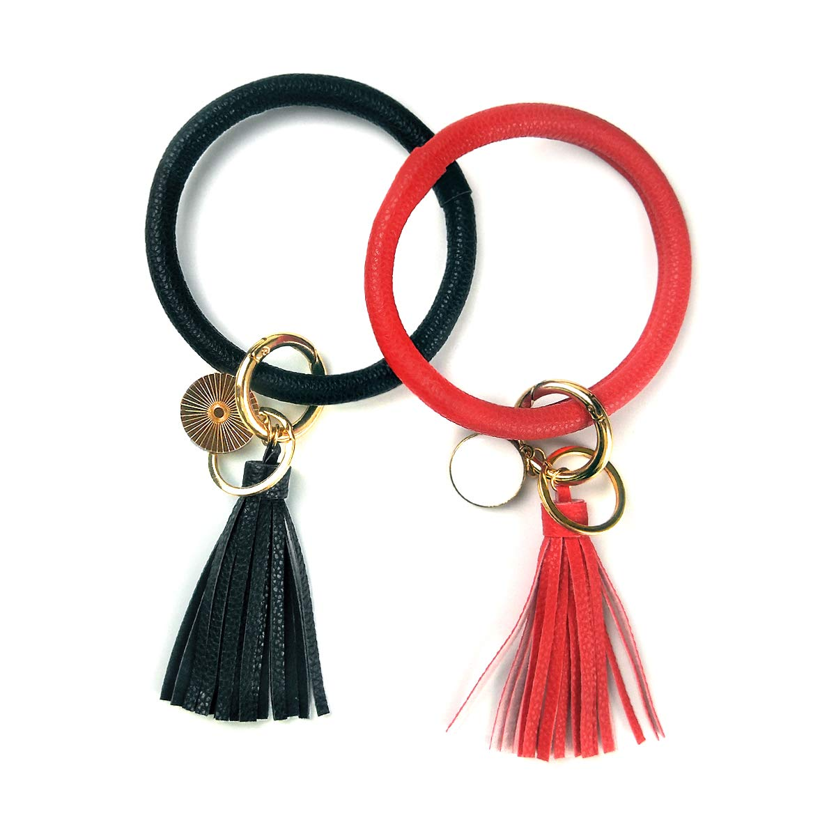 Leather Bracelet Key Ring Bangle Keyring, Tassel Ring Circle Key Ring Keychain Wristlet for Women Girls - Free Your Hands (Black + Red) by M&C Music Color