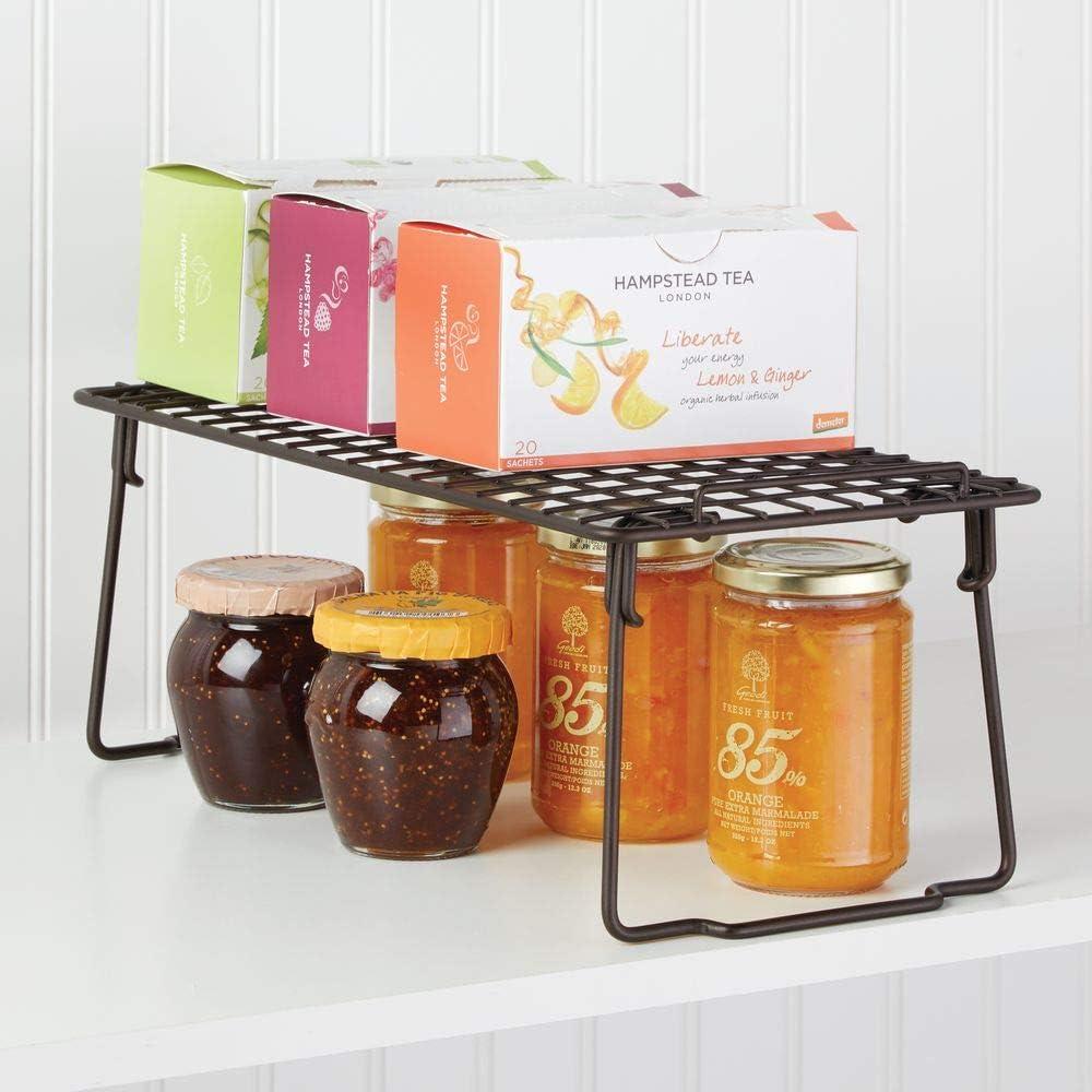mDesign Juego de 2 estantes apilables para almacenaje de cocina – Repisa metálica de cocina con patas plegables – Moderno organizador de armarios para vajilla, conservas y especias – color bronce: Amazon.es: Hogar