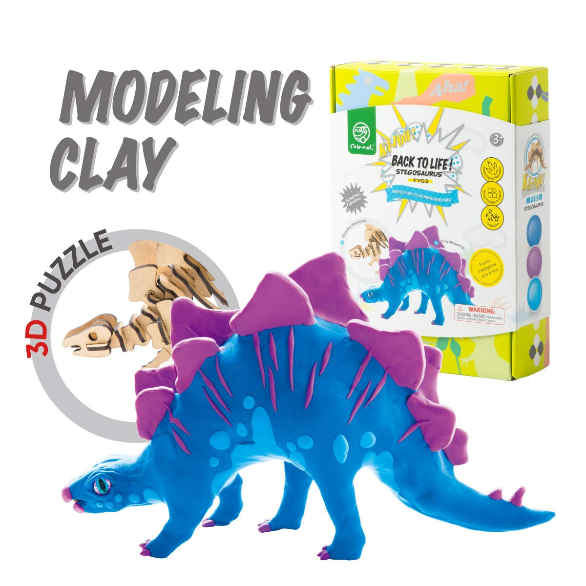 ROBUD Build Dinosaur Figure with Modeling Clay-Dinosaur Toy Playset for Educational Learning-Creative DIY 3D Wooden Skeleton Puzzle-Ideal Christmas Birthday Gifts for Kids(T-Rex)