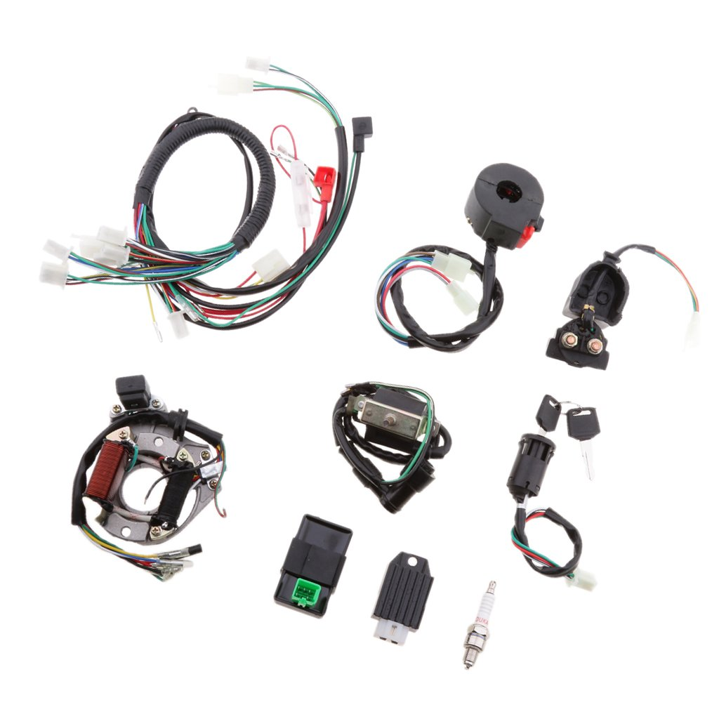 Homyl Electric Start Engine CDI Wire Harness Assembly Wiring Rectifier Set ATV Electric Quad 50CC 70CC 90CC 110CC