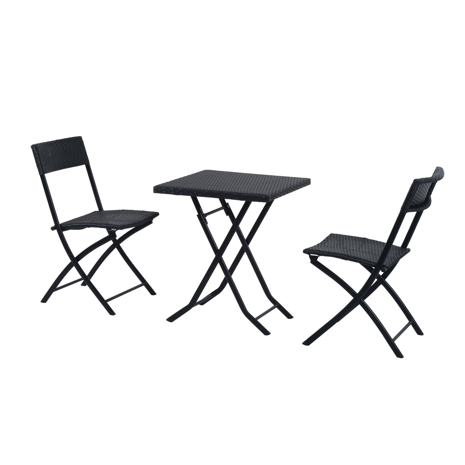 outsunny gartenm bel set aus polyrattan mit tisch und st hlen 3 teilig schwarz jetzt bestellen. Black Bedroom Furniture Sets. Home Design Ideas