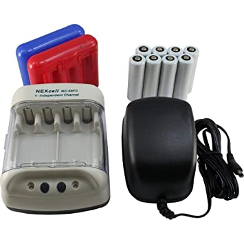 NEXcell - Cargador de batería con 8 Pilas AA Recargables y 2 ...