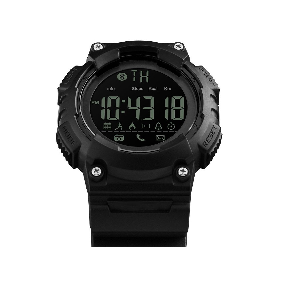 MIFAVOR Outdoor Men Watch Sports Waterproof Smart Watches Digital Army with Bluetooth Call SMS Notification Pedometer Calorie Remote Camera for iOS Android (Black)
