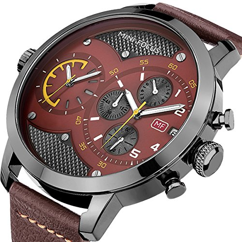 Dual Time Date Watch - MINI FOCUS Big Brown Dial Dual Time Chronograph Sport Men Watch with Date Automatic Calendar and Genuine Leather Band