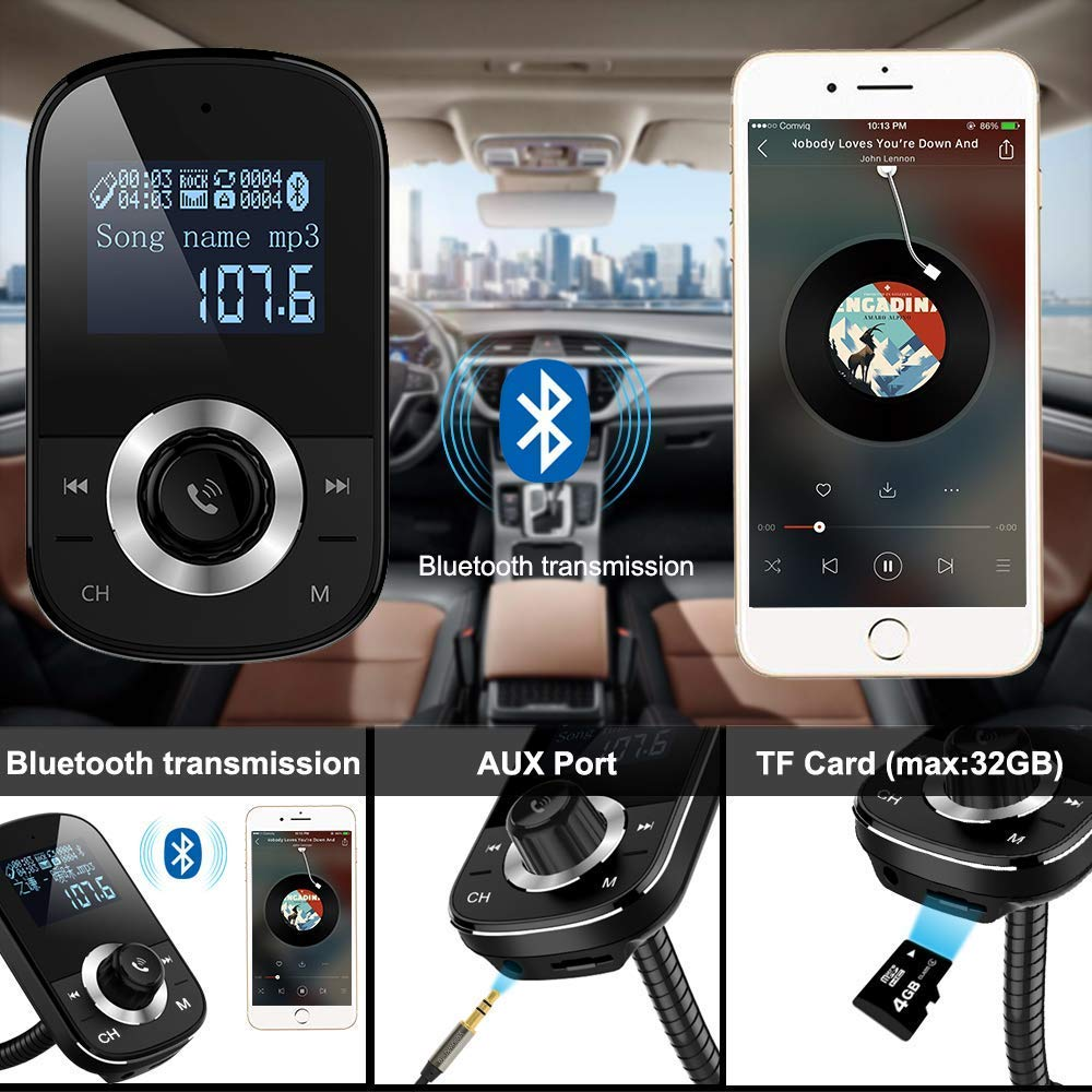 Bluetooth Fm Transmitter Wireless Car Mobil Dgn Usb Sd Card Slot Free Aux Kabel Mp3 Transmiter Modulator Electronics