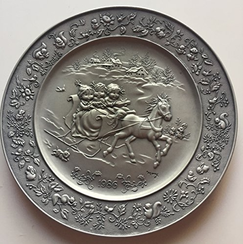 Christmas Pewter Plate - Mary Hamilton 1986 Christmas Pewter Plate.