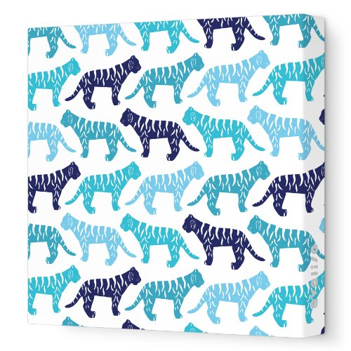 Avalisa Stretched Canvas Nursery Wall Art, Tiger Pattern, Blue, 12