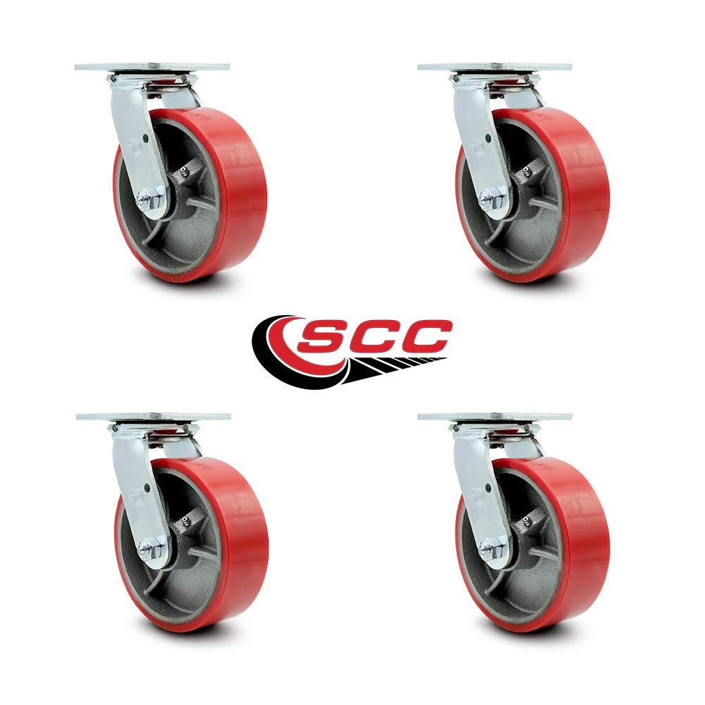 Service Caster - 6'' x 2'' Polyurethane Wheel Caster Set - Red on Silver - Swivel Casters - Non Marking - 4,800 Lbs Total Capacity - Set of 4