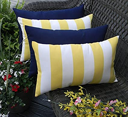 Set Of 4 Indoor Outdoor Decorative Lumbar Rectangle Pillows 2 Yellow And White Stripe And 2 Solid Navy Blue Garden Outdoor