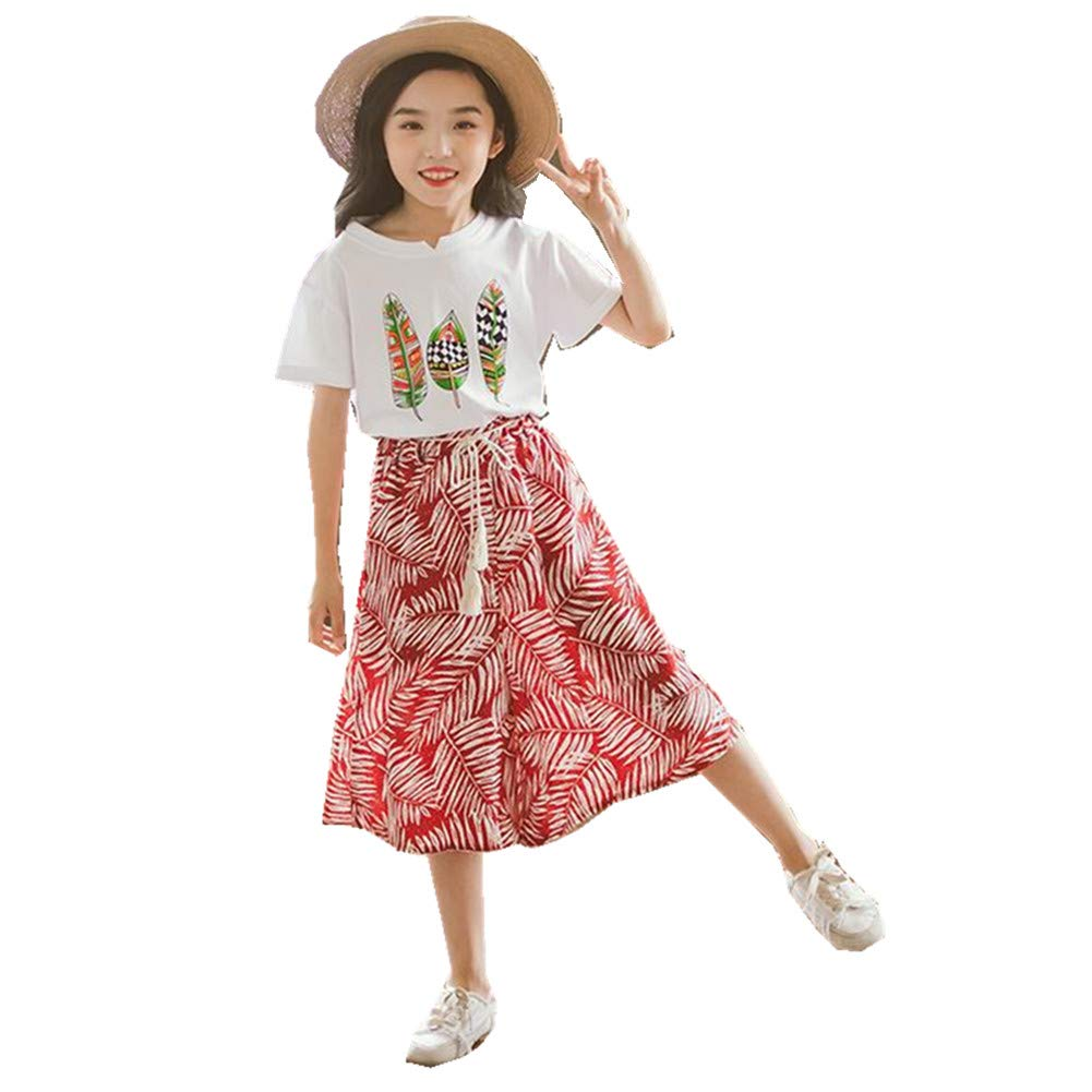 FTSUCQ Girls Floral Leaf Printed Shirt Top + Wide Leg Pants,Red 160