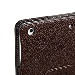 Bear Motion for New 9.7-Inch iPad 2018, 2017 Case - Genuine Cowhide Leather Case with Hand Strap, Built-in Stand and Auto Wake/Sleep Function for Apple New iPad 2018, 2017 and iPad Air 1 - Brown