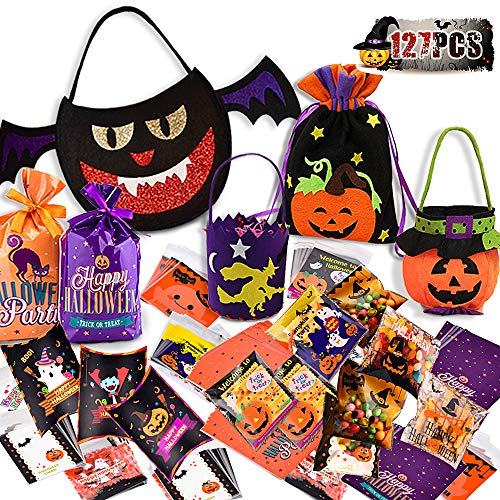 Creative Halloween Party Snacks (Halloween Candy Bags Pumpkin Pails Trick-or-Treat Buckets Goody Bags 127 pcs Party Pack Snacks Candy Handbag Paper Gift for Halloween Party Decor)