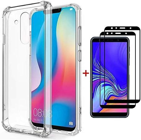 FHXD Compatible avec Les Coque Huawei Mate 20 Lite Transparente Silicone Cover Protection [2*Film en Verre Trempé] Flexible TPU Coussin d'air ...