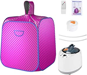TASTILLY Portable Steam Sauna Spa, Upgrade 2L Steamer Personal Foldable Lightweight Sauna Tent with Remote Control, One Person Full Body Spa with Remote Control