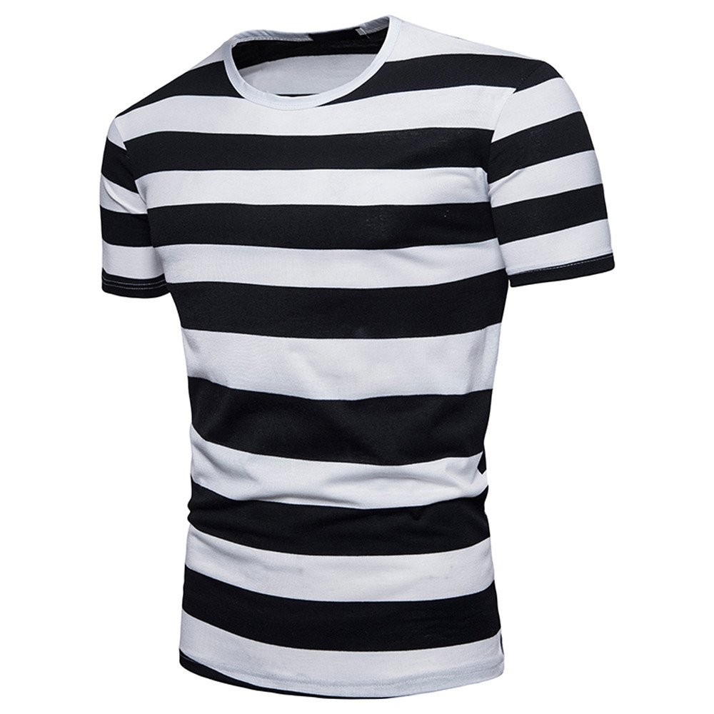 445e038b8a1 Amazon.com  HGWXX7 Men s Summer Fashion Stripe Short Sleeve O-Neck Pullover  T-Shirt Top Blouse  Clothing