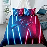 Gaming Bedding Sets for Boys Teen Queen,Kids Gamer Duvet Cover Set,Black Gaming Controller Gamepad with Neon Lights Comforter
