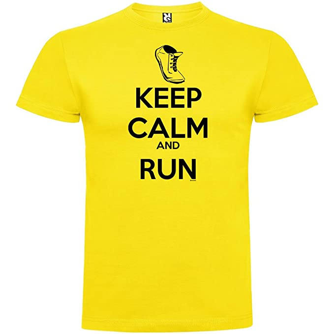 kruskis Camiseta Running Keep Calm and Run Manga Corta Hombre yIqNC