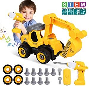Lehoo Castle Take Apart Toys with Electric Drill, Build Your Own Construction Vehicle Toys Truck for 6 Year Old, Assembly Toy Car Vehicle Playset with Remote Control, Toys for 4 5 6 7 8 Years Old