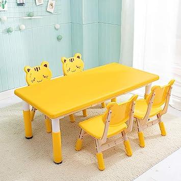 Juego de mesa y silla para niños Mesa de plástico y juego de silla 4/6 Mesa de estudio Home Kindergarten/Caricatura amarilla / 1 mesa 4 sillas: Amazon.es: Bricolaje y herramientas