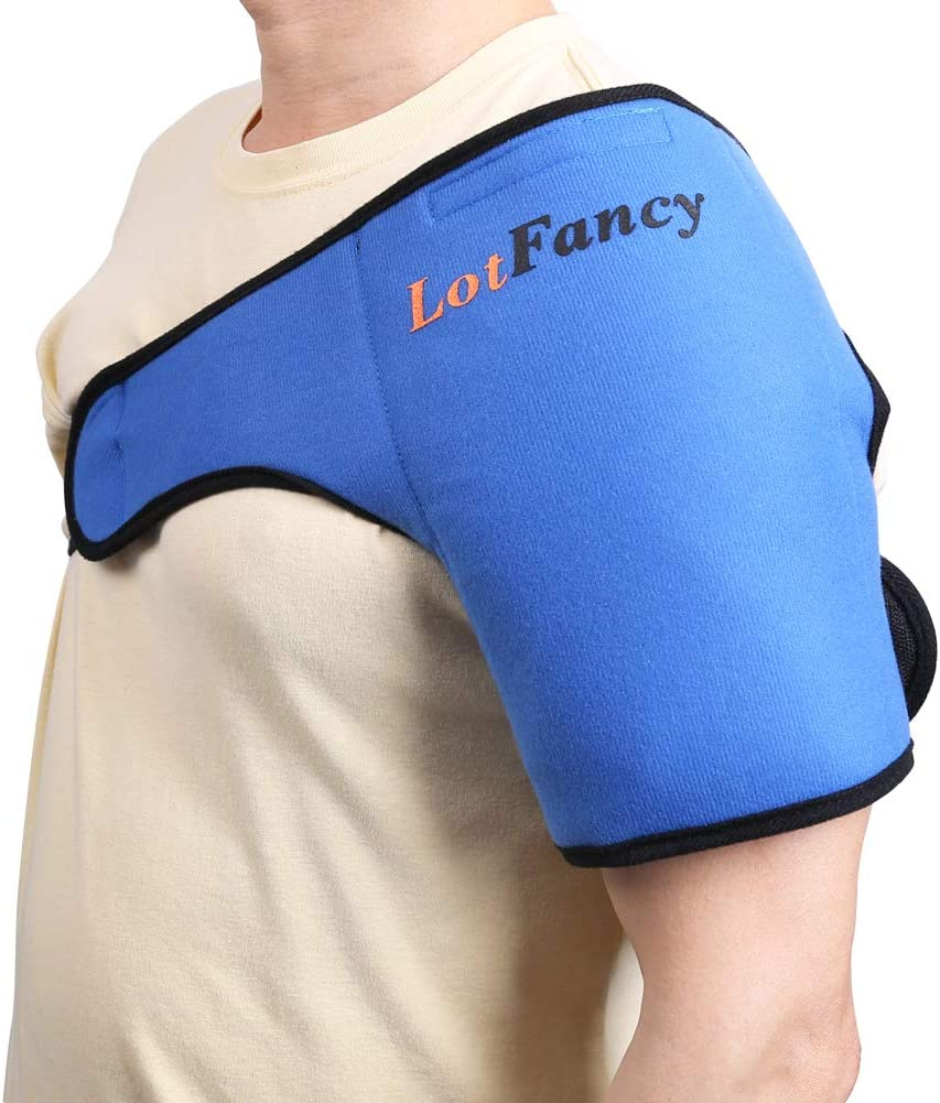 LotFancy Gel Ice Pack with Shoulder Wrap - Hot Cold Therapy for Sports Injuries, Sprains Sore, Swelling, Aches, Muscle and Joint Pain (Medium 8.8 x 5 inches)