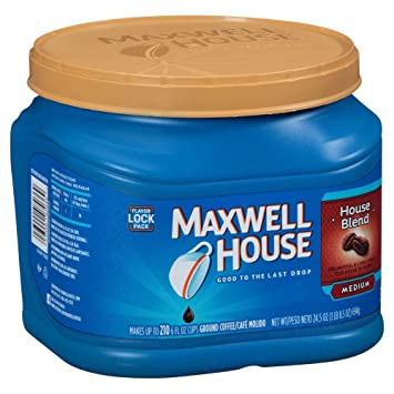 Awesome Maxwell House House Blend Ground Coffee, Medium Roast, 24.5 Ounce Canister