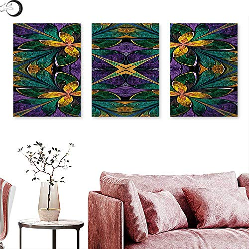 Fractal Digitally Printed Antique Ornate Symmetric Stained Glass Mosaic Window Style Floral Tile Pattern Triptych Wall Art Green Purple W 24