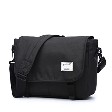Canvas Messenger Bag for Women Men School Girls Teen Student Waterproof 13  Inch (Black) 7ee831eb3fa04