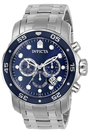 3908dff74 Invicta Men's 0070 Pro Diver Collection Analog Chinese Quartz Chronograh  Silver-Tone/Blue Stainless