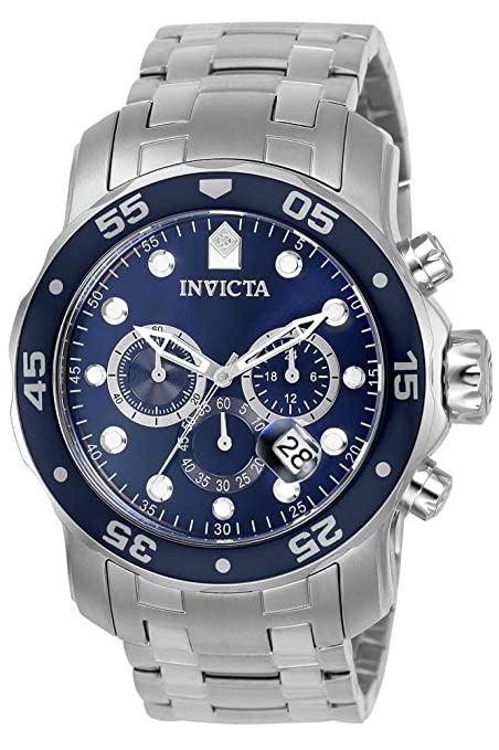 Invicta Men's 0070 Pro Diver Collection Analog Chinese Quartz Chronograh Silver-Tone/Blue Stainless Steel Watch