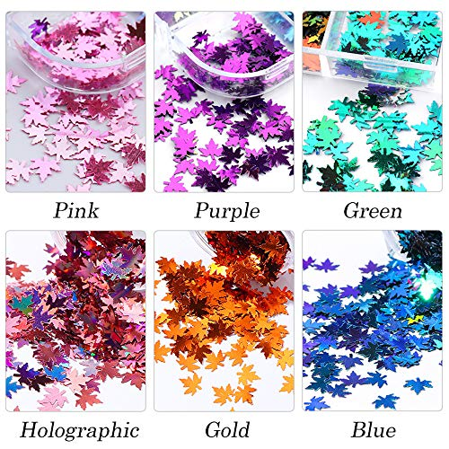 LYOUCI 12 Colors Butterfly Nail Art Stickers Sequins and 12 Colors 3-D Maple Leaf Holographic Nail Art Flakes Colorful Confetti Glitter Sticker Decals