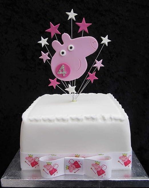4th cumpleaños Decoración para tarta para Peppa Pig con ...
