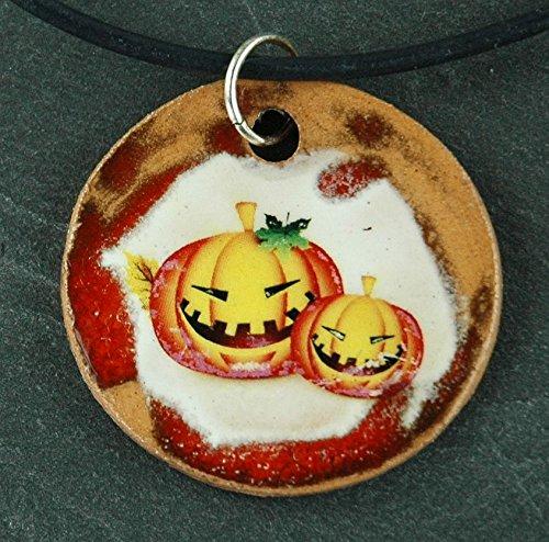 Orginal handicraft: Halloween, pumpkin, witch, festival, October, USA, jewellery, jewelry, handcrafted necklace, best gift, art, ceramic]()