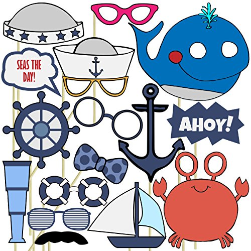 Nautical Photo Props (32 Pieces) for Photo Booths, Kids Birthdays, Ocean Theme Parties and More! Our Photo Prop Party Favors are Pre-Made (Not DIY) for Your Convenience! (Prop Not)