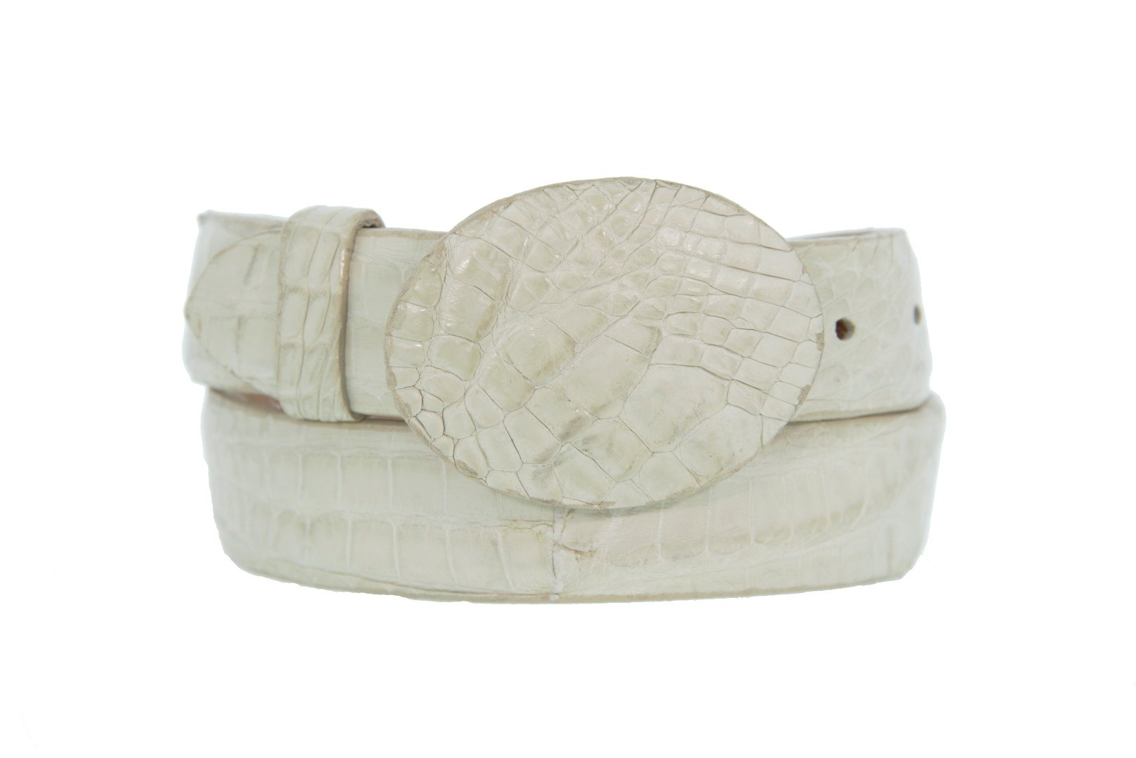 Cowboy Professional - Mens Off White Crocodile Genuine Cowboy Skin Round Belt 44