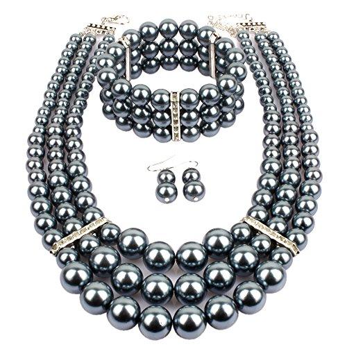 Gray Pearl Set - KOSMOS-LI Multi Layer Gray Imitate Pearl Strand Costume Jewelry Set