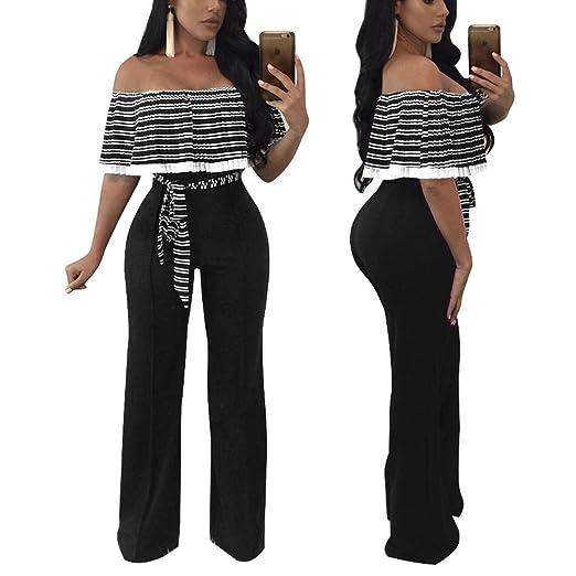 91a6c77af136 Amazon.com  YYF Women s Wrap Chest Ruffles Jumpsuits Lace Up Bodycon Long  Wide Leg One Piece Pants  Clothing